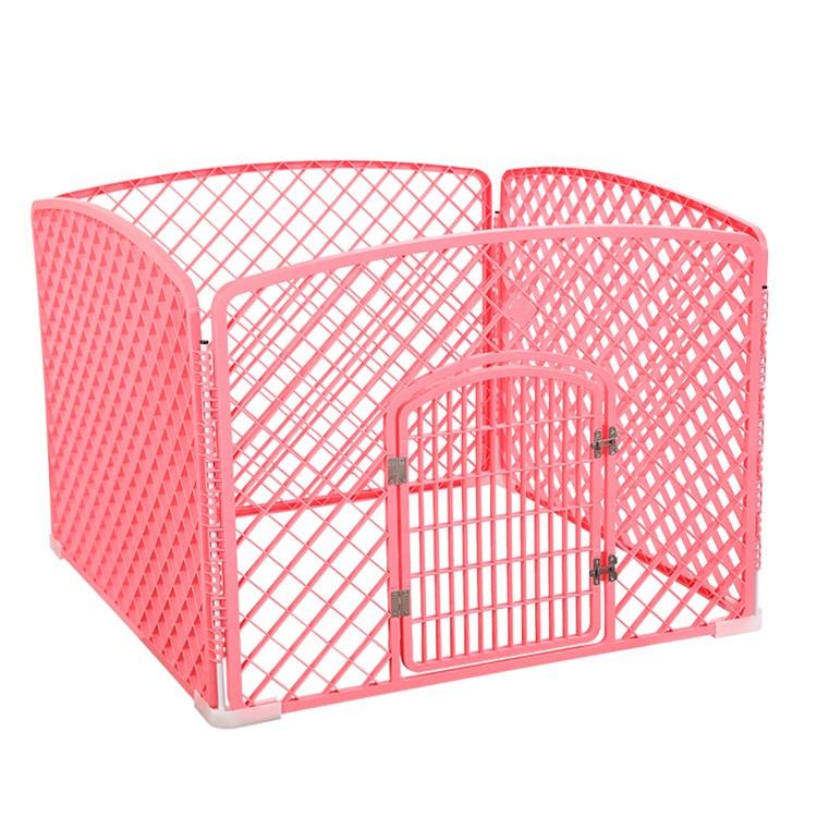 Corralito de plástico plegable de cuatro paneles para mascotas, cerca para perros pequeños, cerca para cachorros, puerta para perros pequeños