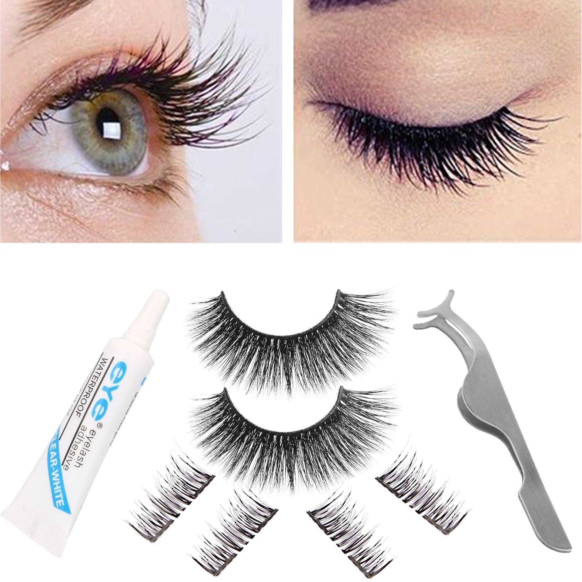 21f8c96b50f Get Quotations · False Eyelashes Set, Reusable Magnetic Eyelashes& Natural  Fiber Fake Eyelashes with Glue Set, Dual