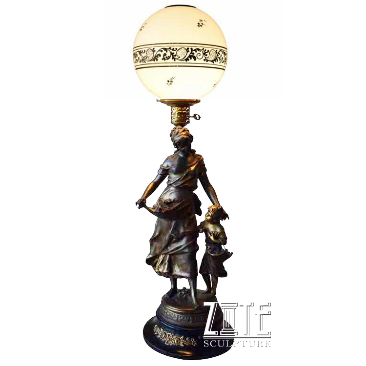 Life size mother and child lamp bronze sculpture