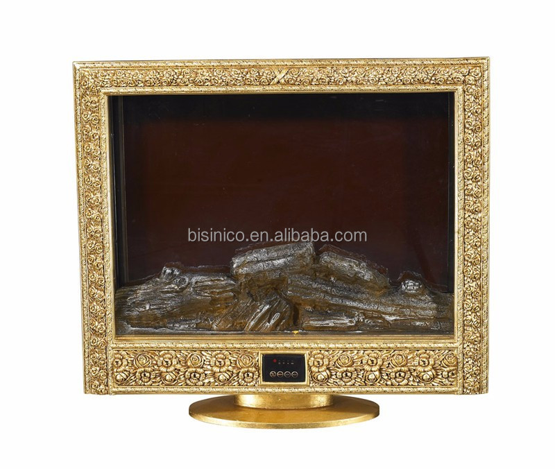 Royal Luxurious Golden Fireplace Heater with Stand, European Digital Remote Control TV Stand Decorative Fireplace Heater