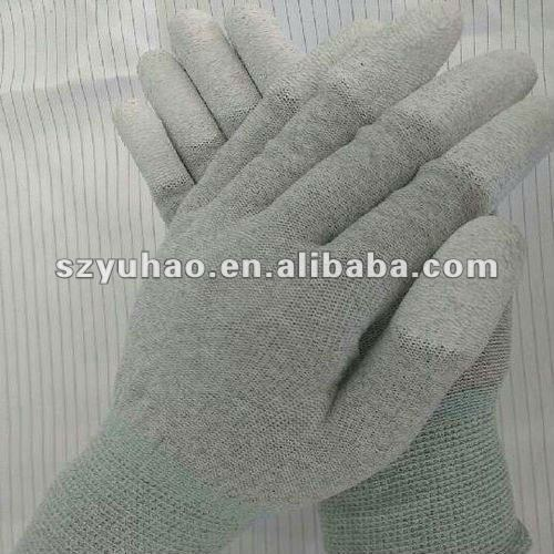 13 gauge carbon yarn esd finger coated gloves