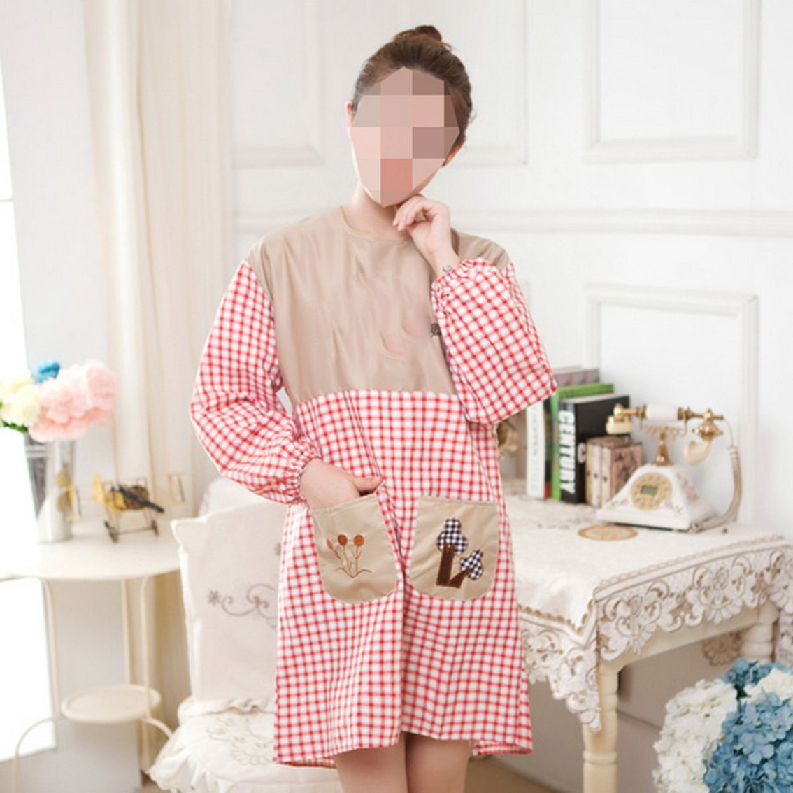 fengg2030shann Long-sleeved cute aprons kitchen cooking apron adult female fashion simple gowns with sleeves. Aprons apron aprons long-sleeved gowns aprons gowns