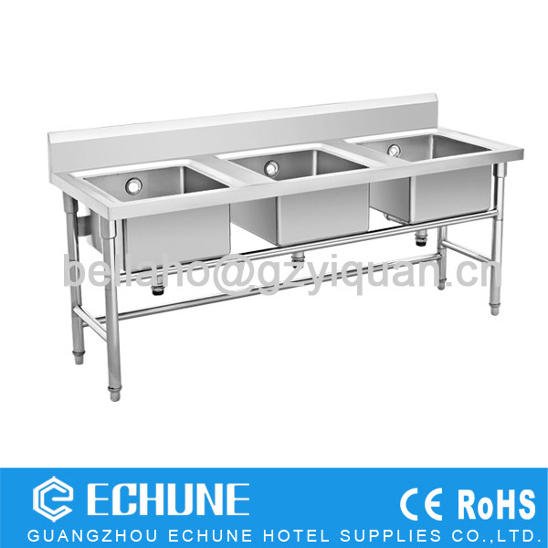 Restaurant Kitchen Work Tables restaurant three kitchen sinks stainless steel dish washing work