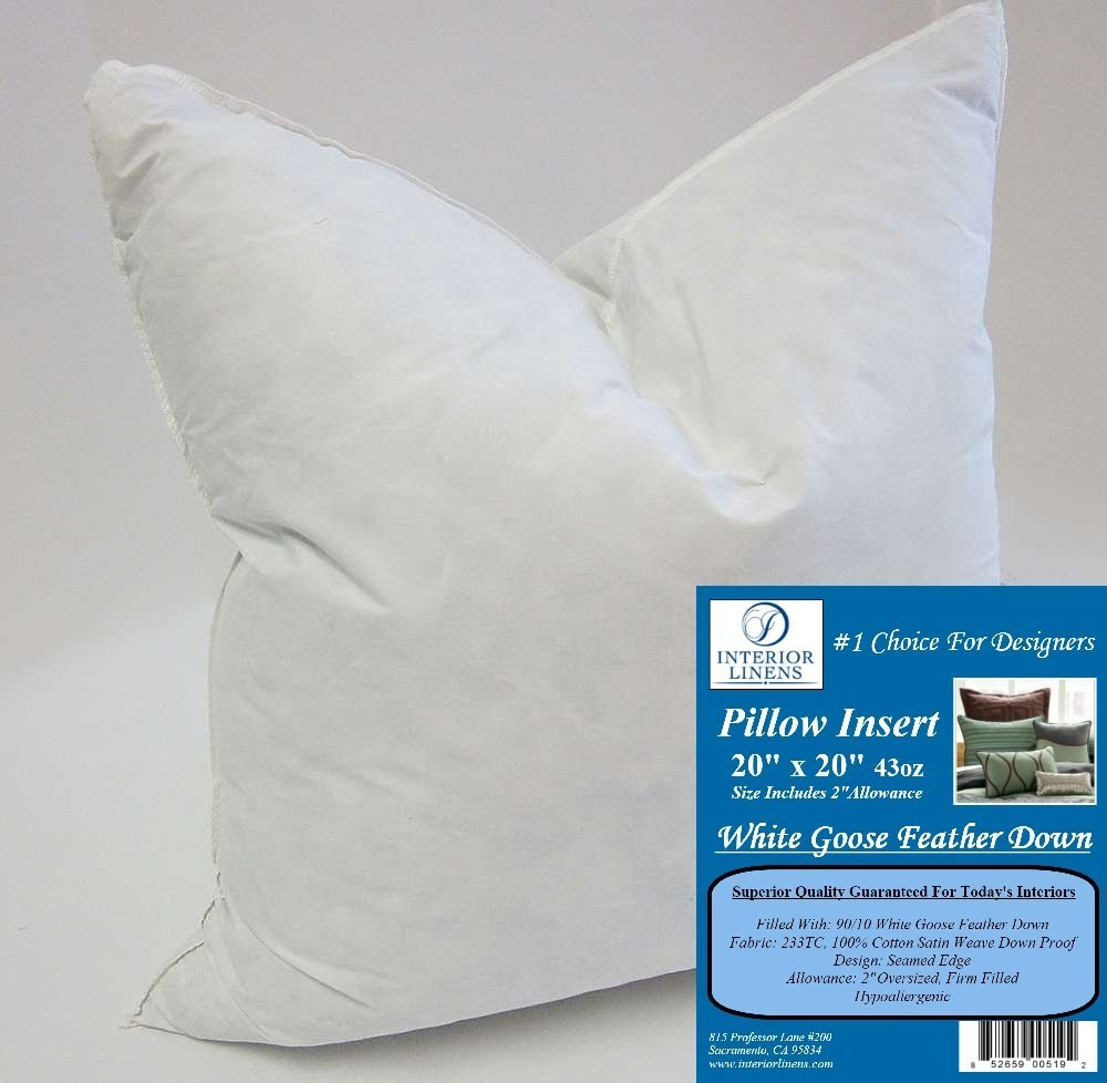 "20"" x 20"" 43oz. Pillow Insert: 90/10 White Goose Feather Down - 2"" Oversized & Firm Filled (Actual Size: 22""x22"")"