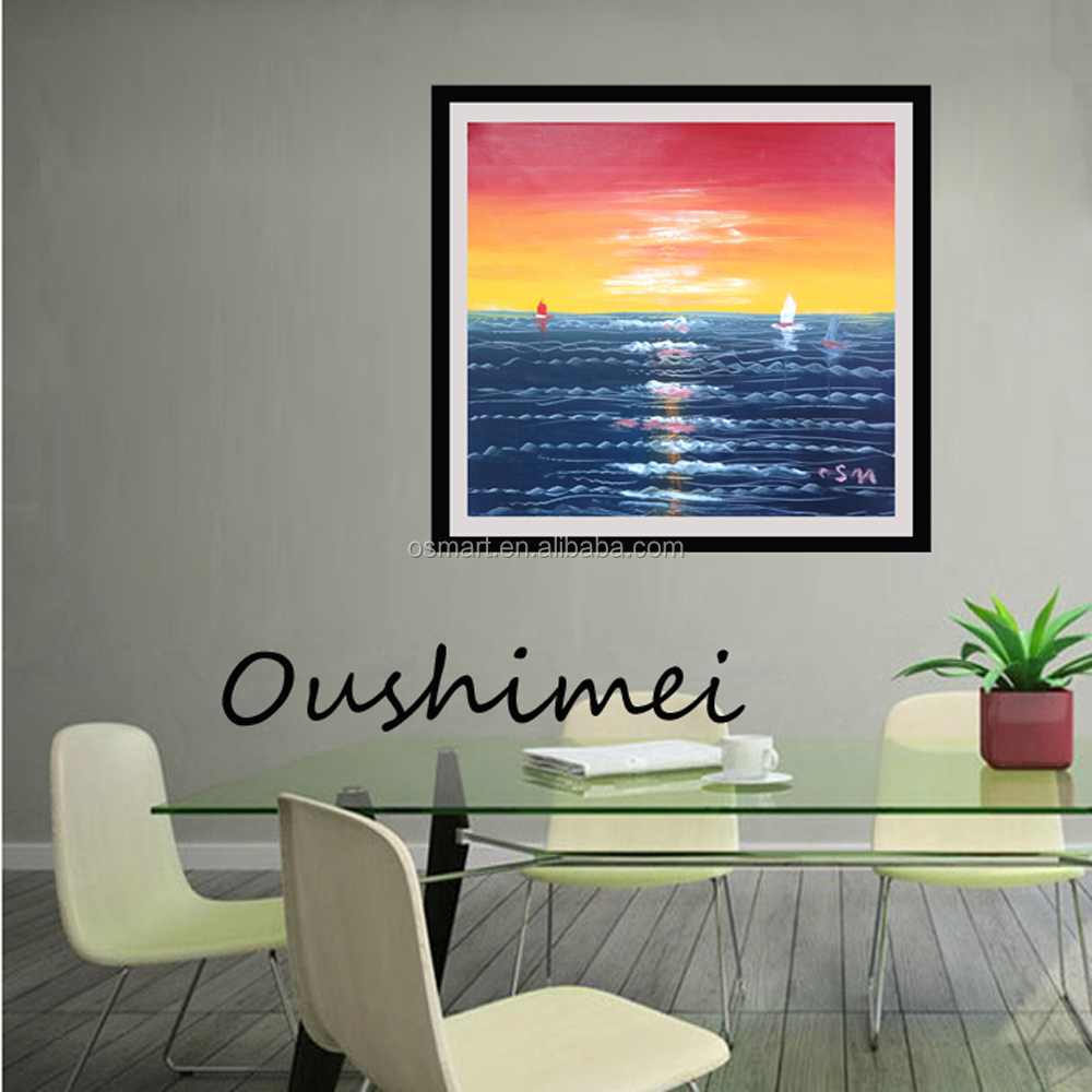 Warmly color design handmade abstract sea oil painting on canvas ...