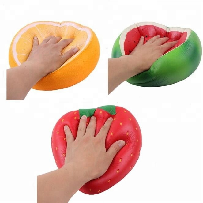 3 Pieces 10inch Jumbo Watermelon <strong>Orange</strong> And Strawberry Squishy Slow Rising Squishy for Kid Toy