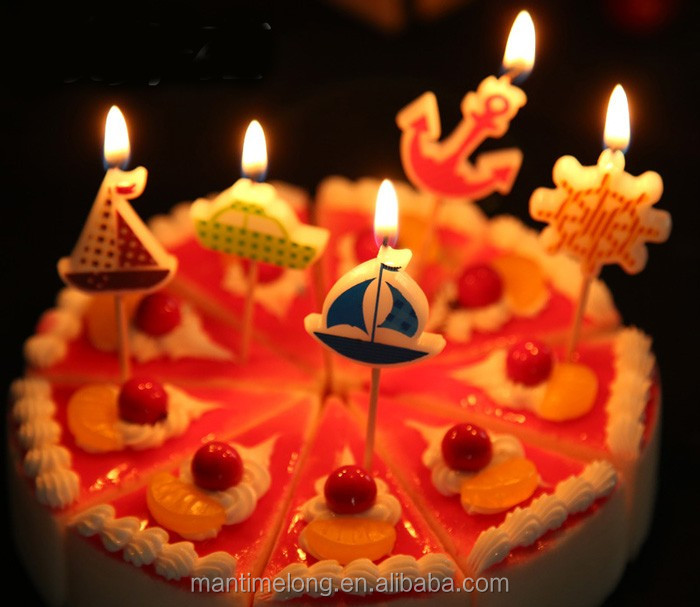 Birthday Cake Candles Colorful Lovely Cartoon Sailboat Shape Assorted Colored Flames Safe