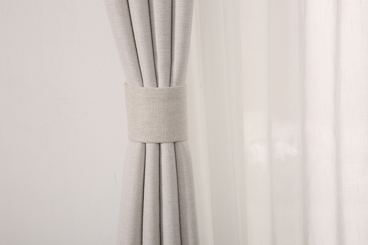 Promotional linen look polyester drapes blackout window curtain white