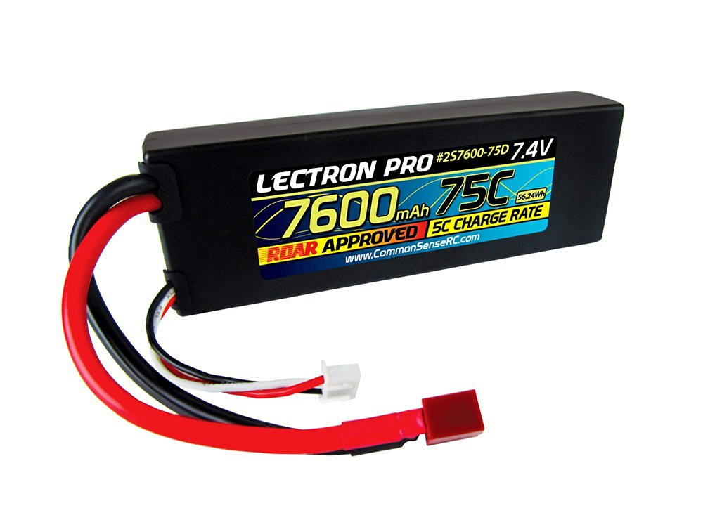 Common Sense RC Lectron Pro 7.4V 7600mAh 75C Lipo Battery with Deans-Type Connector for 1/10 Scale Cars, Trucks, and Buggies