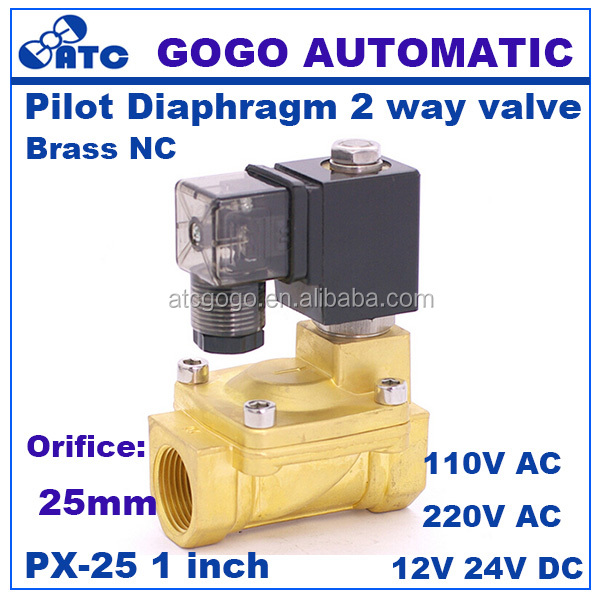 "GOGO Normally Closed 2 way Pilot Diaphragm Brass electric 12v dc water pneumatic Solenoid <strong>Valve</strong> 1"" BSP 25mm PX-25 NBR"