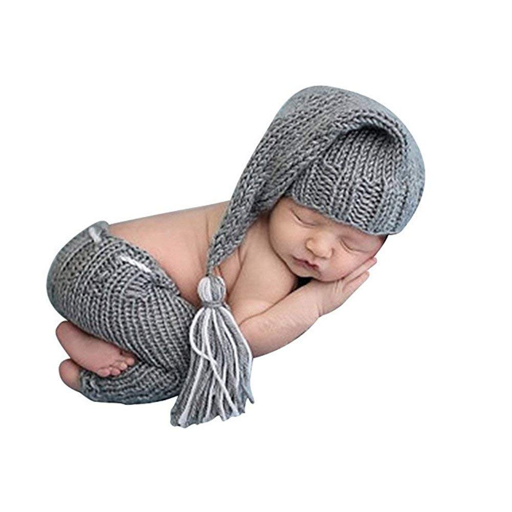 5e14348346f Get Quotations · Newborn Photography Props Baby Boy Knitted Outfits Crochet  Hat Pants Set