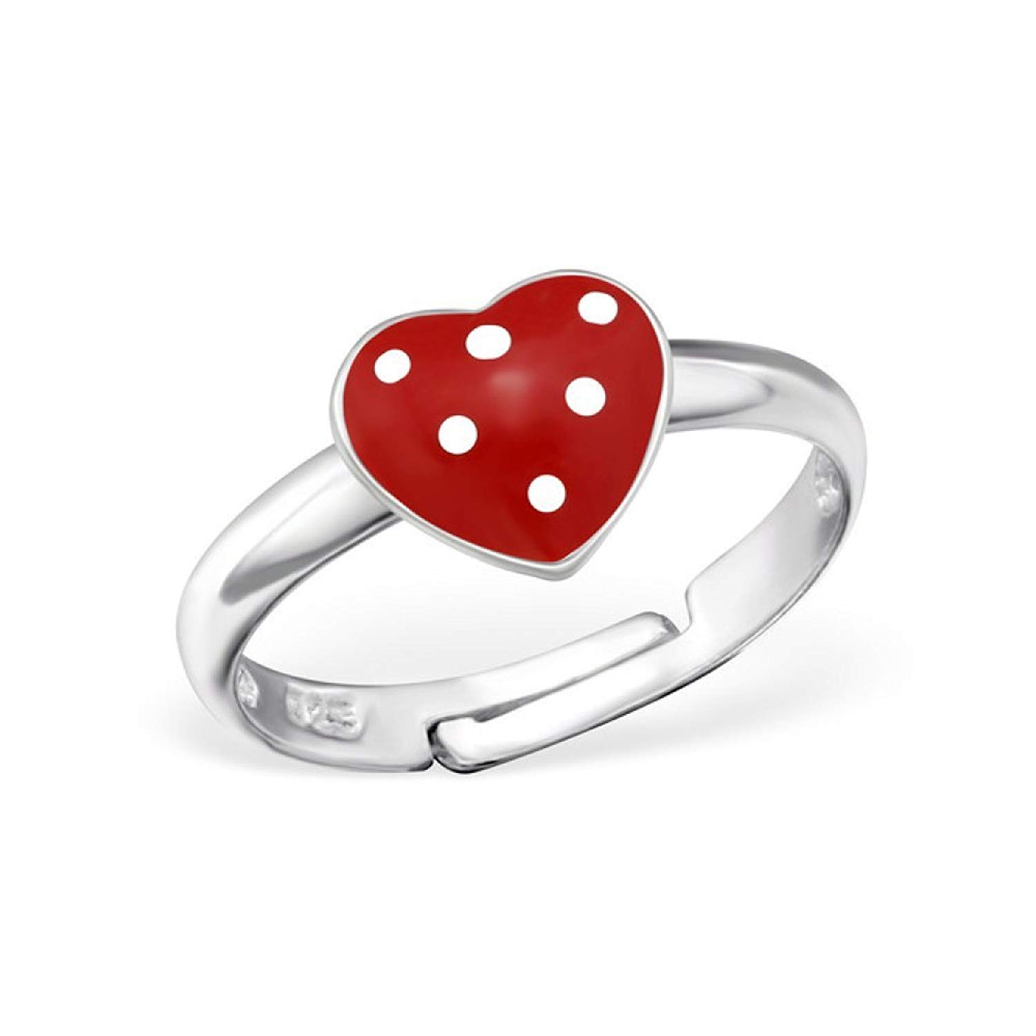 Liara Polished and Nickel Free Heart Jeweled Rings 925 Sterling Silver