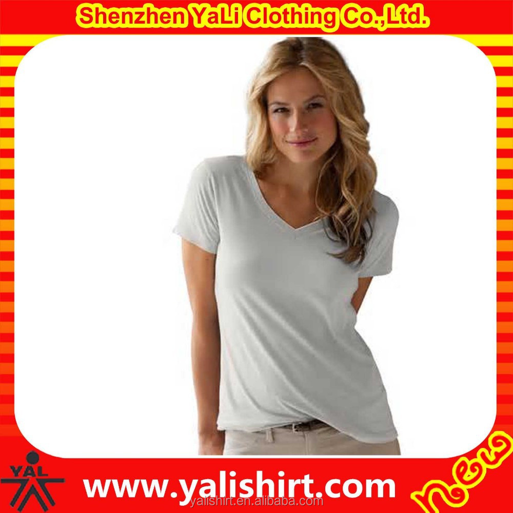 2015 new fashionable cotton with spandex material dry fit think cheap women's plain white t-shirts
