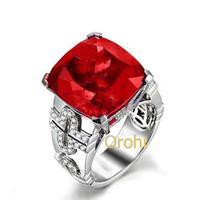 In 2014 an engagement ring is white gold ring red garnet ring-HG426GAR