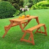 2 in 1 OUTDOOR SEATS UPTO 4/6 NEW WOODEN FOLDING BENCH PICNIC GARDEN SEAT TABLE