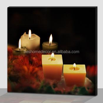 wanddecoratie canvas prints brandende kaars met led verlichting