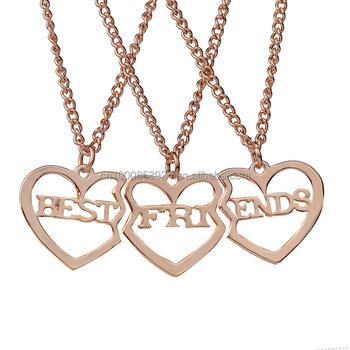 079976c2002a 3 unids set amistad regalo para niñas en forma de corazón hueco carta  mejores amigos