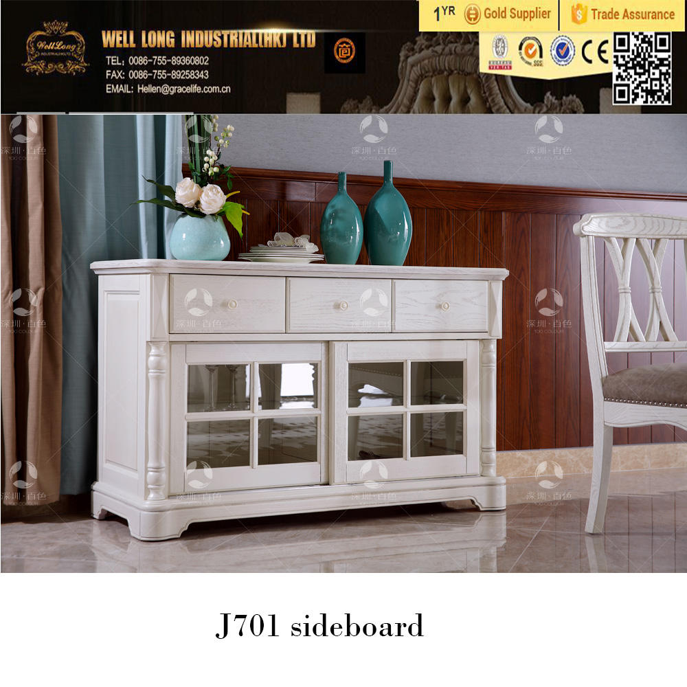 2016 newest design American vintage Style Solid Wood Buffet/white Sideboard/ Solid Wood Cupboard