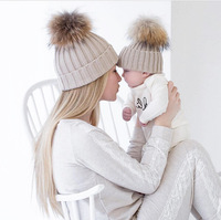MY Miyar Mom And Baby Hat with Pompom Warm Raccoon Fur Bobble Beanie Kids Acrylic Knitted Parent-Child Hat Winter Caps