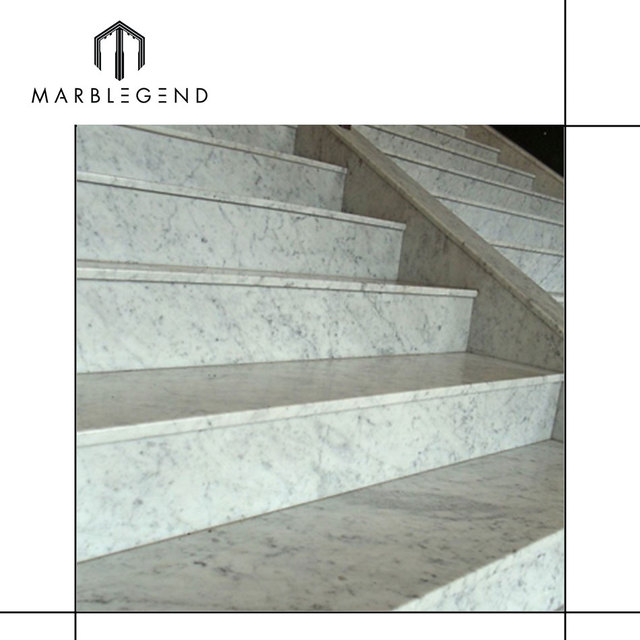 Grooved Natural Stone Bianco Carrara White Marble Stair Treads Non Slip