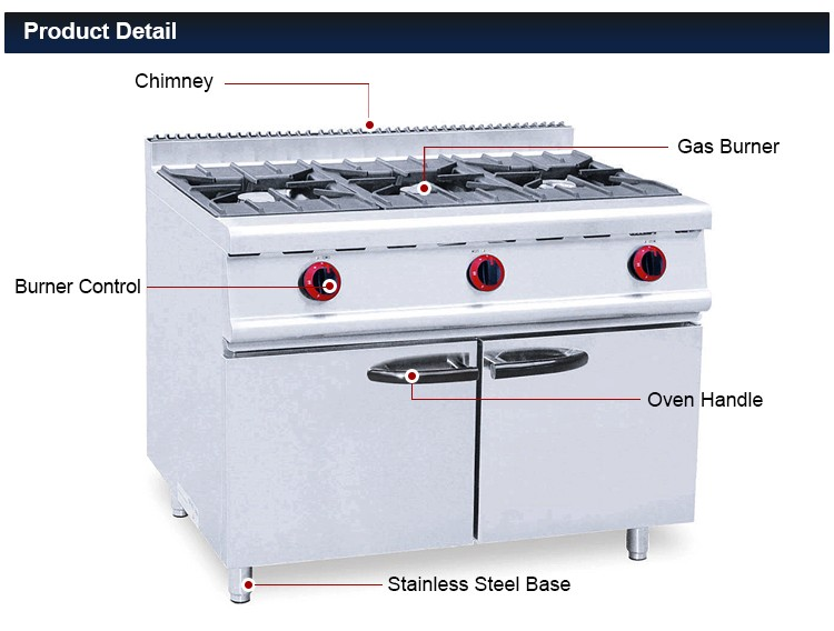 china supplier cheapest price 3 burner gas stove commercial gas range with cabinet