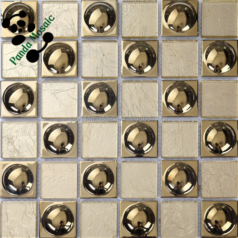 SMG01 Unique latest design wall tiles Yellow electroplate copper glass  mosaic tile Kitchen tile wallpaper decoration. Smg01 Unique Latest Design Wall Tiles Yellow Electroplate Copper