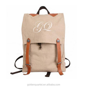 New design custom canvas backpack blank cotton canvas backpack for laptop and books SA8000, BSCI, sedex audited factory