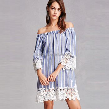 40 Summer Stripe Pattern Off The Shoulder Bell Sleeves Crochet New Bell Sleeve Dress Pattern