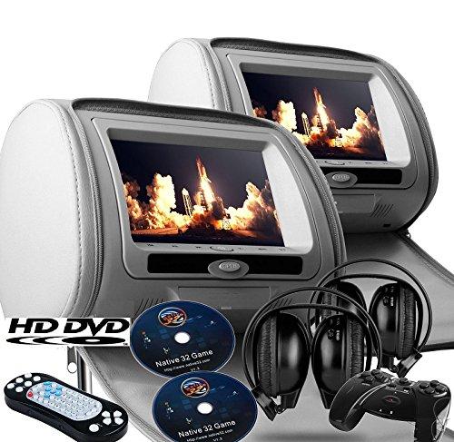"2017 Gray Dual LED Digital 9"" Headrest Dvd Players Monitors USB SD With Zipper Covers & Wireless Headphones"
