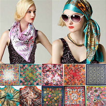 custom 100% satin silk scarf for ladies square scarves