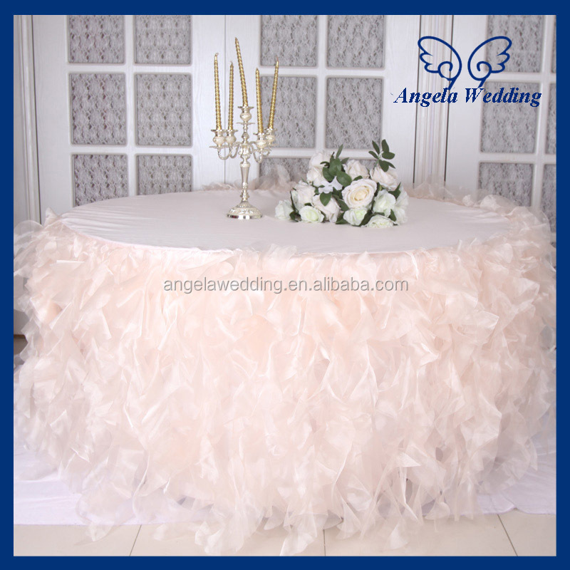 Nice CL010D New Hot Sale Elegant Organza Round Ruffled Curly Willow Frilly Fancy  Wedding Blush Pink Table