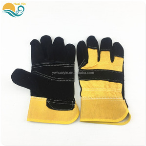 Yellow Color Welding Gloves Cow Split Leather Work Glove Leather cotton Safety Gloves