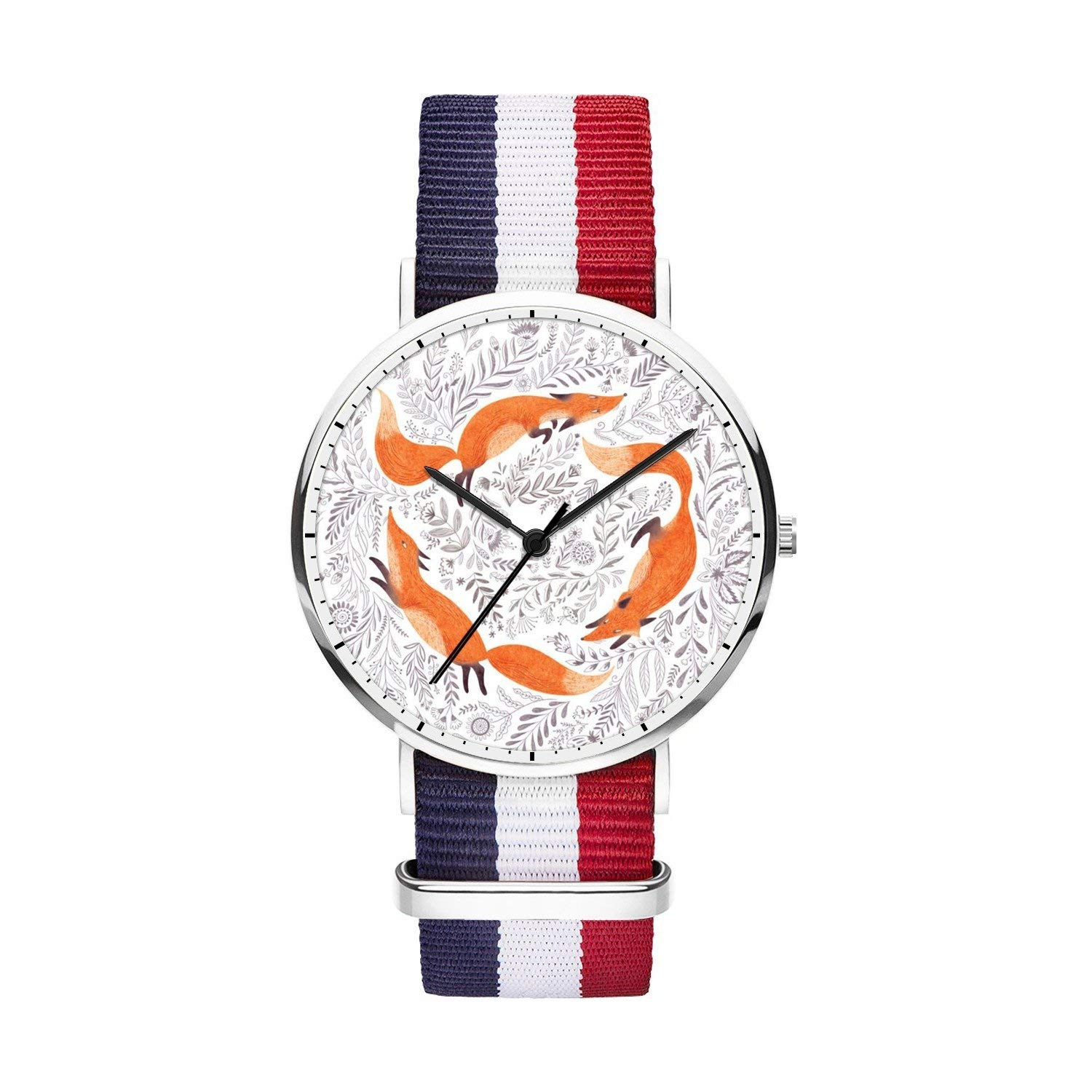 FELOOWSE Girls Watches, Women Watches, Sliver Slim Minimalist Imported Japanese Quartz Practical Waterproof Unique Personalized Youth Fashion Design Cute Watches for Women.- Fox