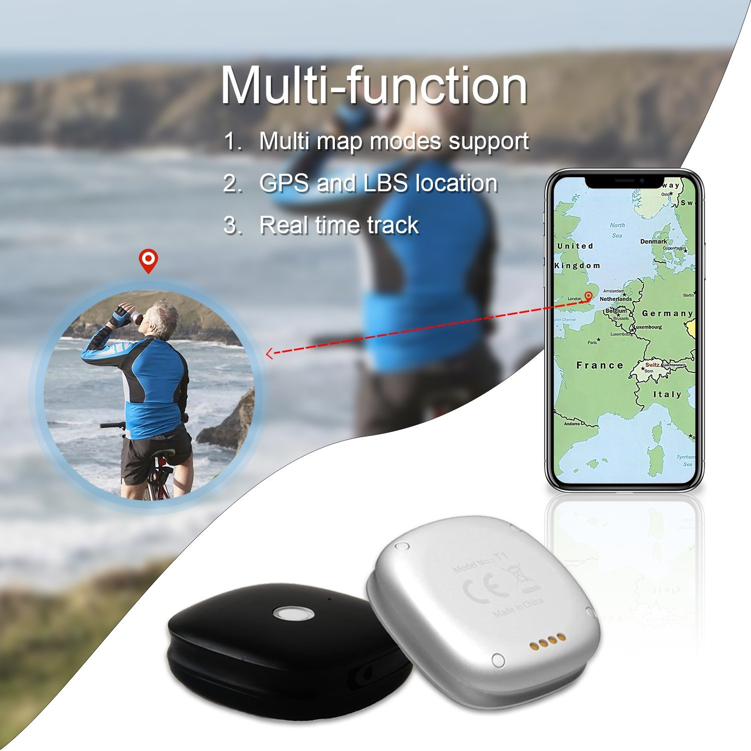 GPS Tracker EnergyPad Tracker Luggage GPS Locator GSM 2G Network Real-time Tracking Monitoring Outdoor Handheld GPS Unit Mini Finder for the Elderly Kids Pet Car Motorcycle by App Control