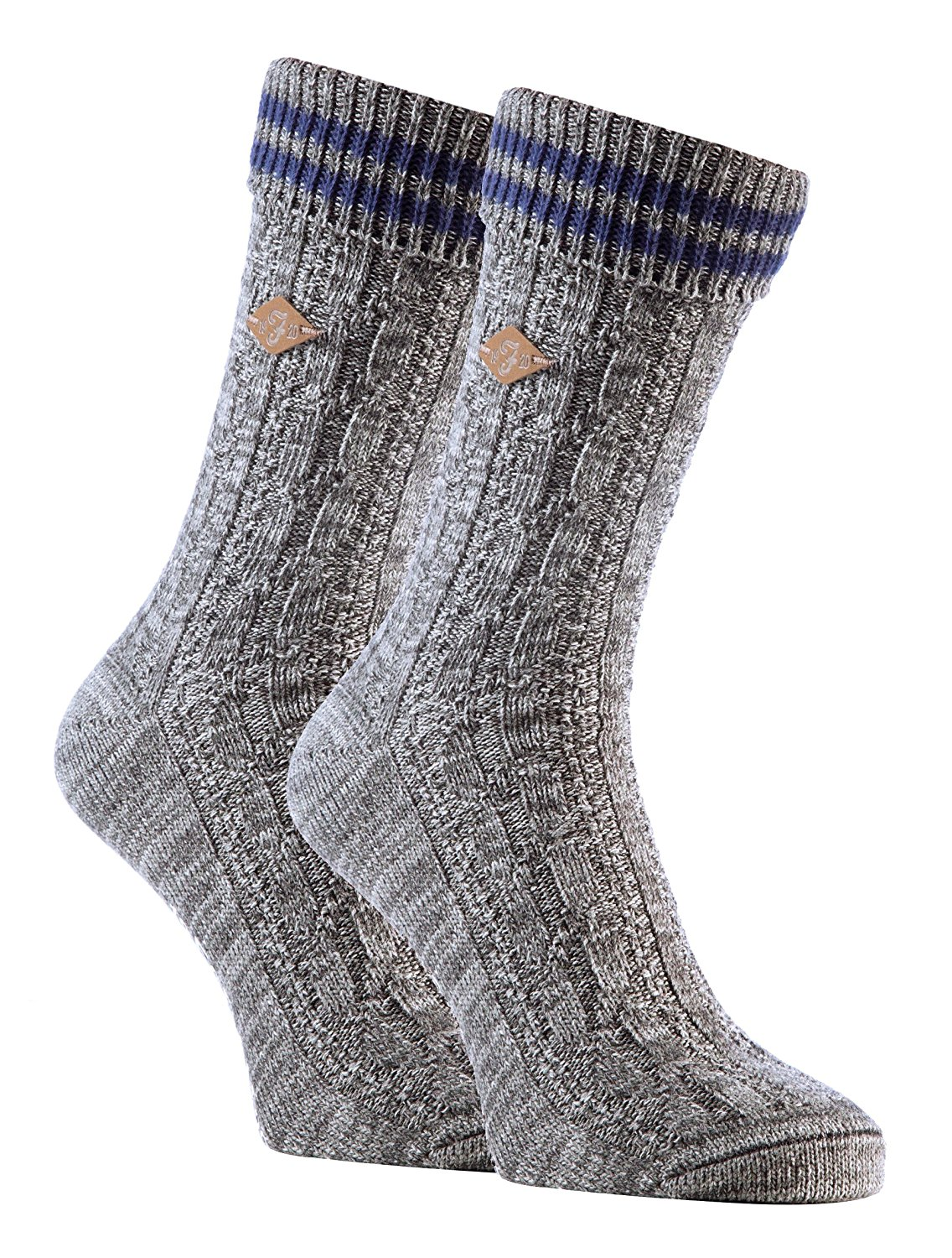 2be4d46ab5b Get Quotations · Farah - 2 Pack Mens Thick Chunky Ribbed Cable Knit Cotton Crew  Socks for Boots