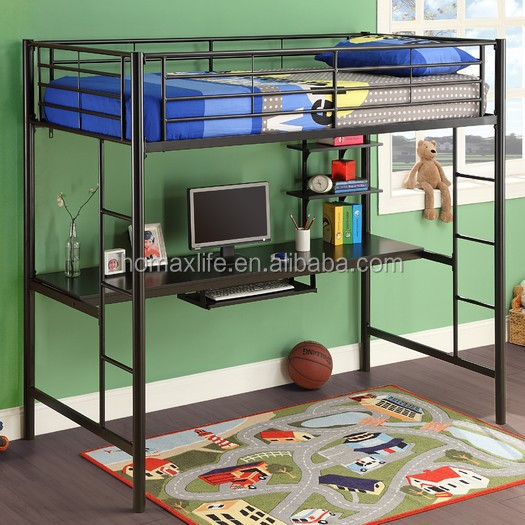 Twin loft bed and workstation with desk bulit-in ladder