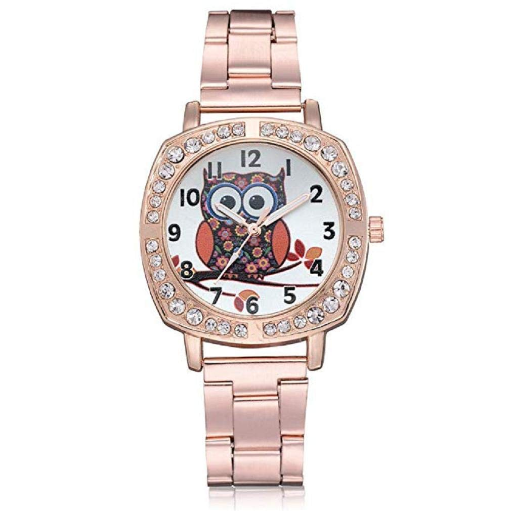 Womens Quartz Watches, Windoson Fashion Ladies Dress Watches Fanmis Luxury Rhinestone Bracelet Quartz Stainless Steel Alloy Watch, Elegant Lady Watches Female Watches for Womens (Rose Gold)