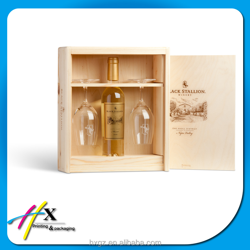 custom wooden wine and glasses box packaging decanter box for day gift