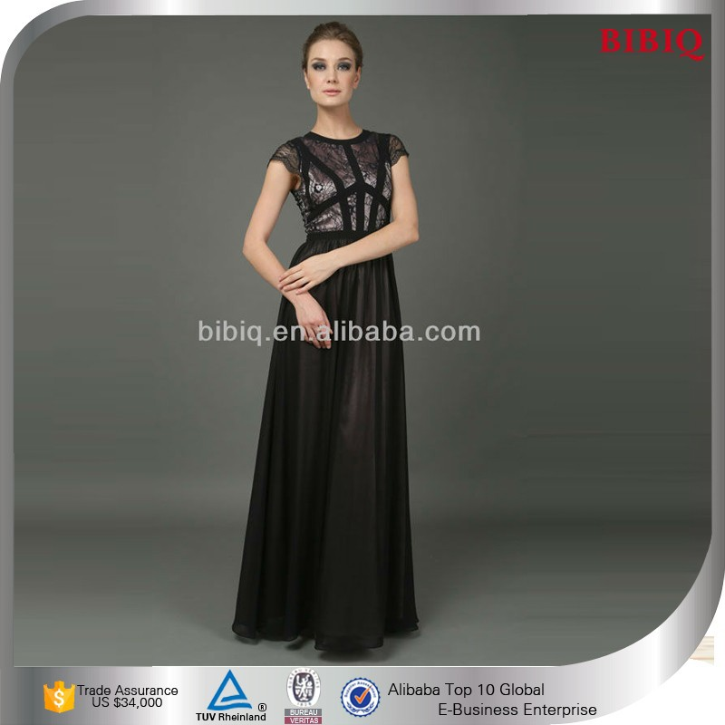 Black long sleeve maxi evening dress
