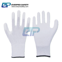 Anti Static 13G Polyester/Nylon PU/Polyurethane Coated Gloves For Gardening and Electronics with EN388:3121X