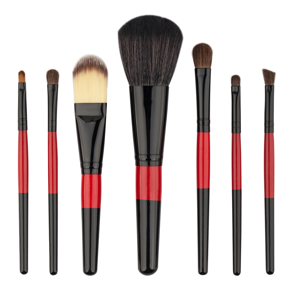 GUJHUI 7 pcs Protable Black Red Make Up Brush Tools Suit
