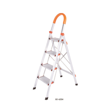 Household steel metal folding 4 step ladders loft ladder with handrail