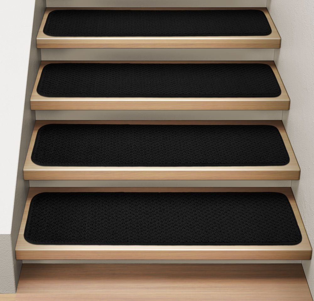 Set of 12 Attachable Indoor Carpet Stair Treads - Black - 9 In. X 36 In. - Several Other Sizes to Choose From