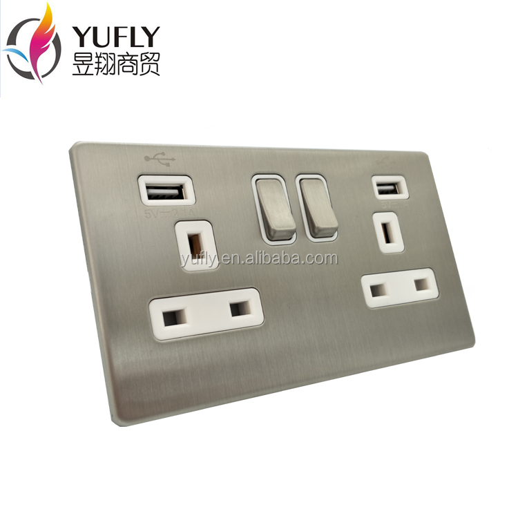 screwless polished chrome 2 gang 13A 2 USB port wall power plug socket
