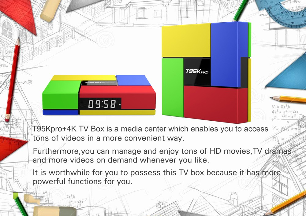 New design amlogic s912 android 7.0 T95K Android TV Box with high quality