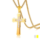 316 L Stainless Steel PVD Gold Plated Crystal Rhinestone Cross Pendant Necklace For Men