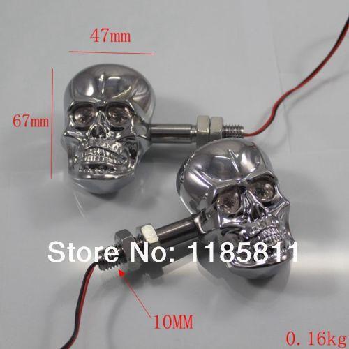 1 Pair Chrome LED Skull Turn Signal Light For Yamaha XV