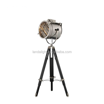 Wooden material downlight type spot light tripod floor for Downlight floor lamps
