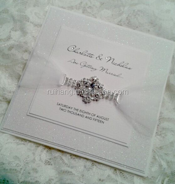 Silver and white Glitter Wedding Invitation with Glitter Belly Band with buckle