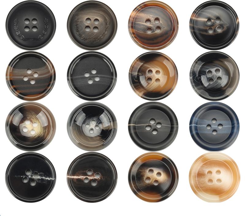 Round Jacket Button Black 4 Hole 25mm